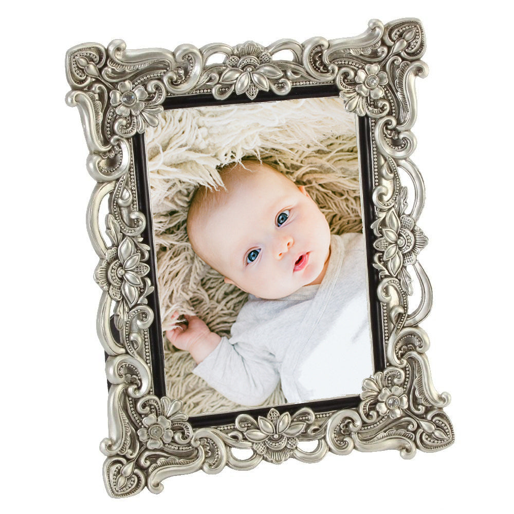 Deep Silver Vintage Floral 5 x 7 Photo Frame