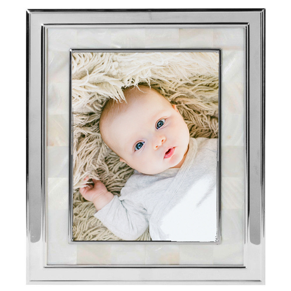 Silver 8 x 10 Mother of Pearl Photo Frame