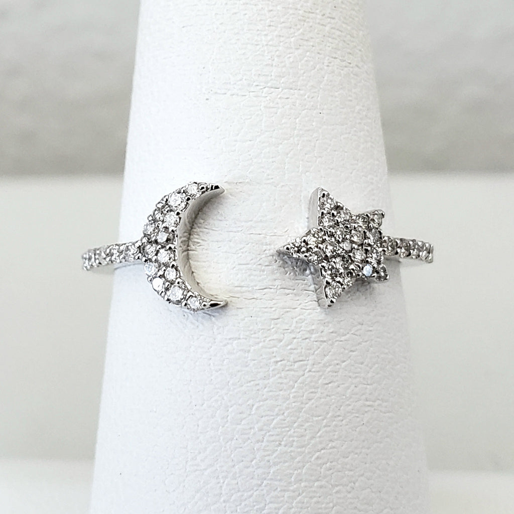 Moon & Star Diamond Ring