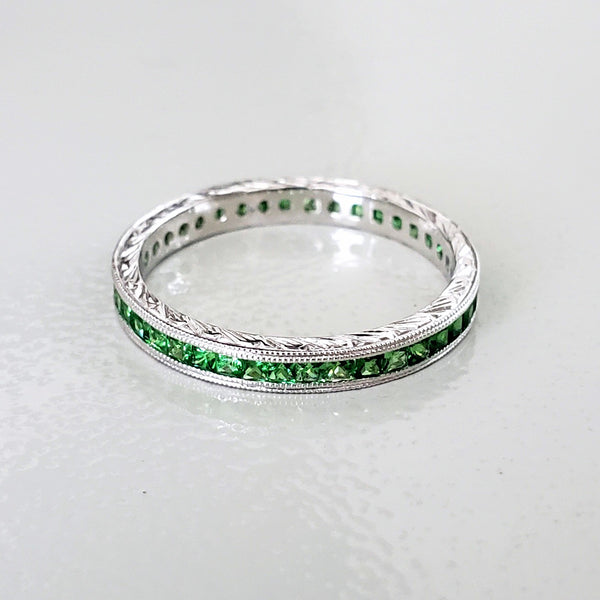 Tsavorite Garnet Eternity Band