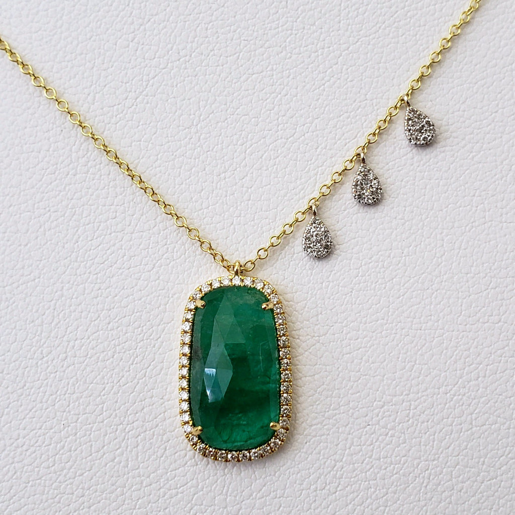 Emerald & Diamond Necklace by Meira T