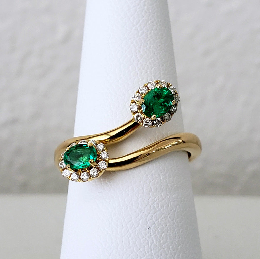 Emerald & Diamond Bypass Ring