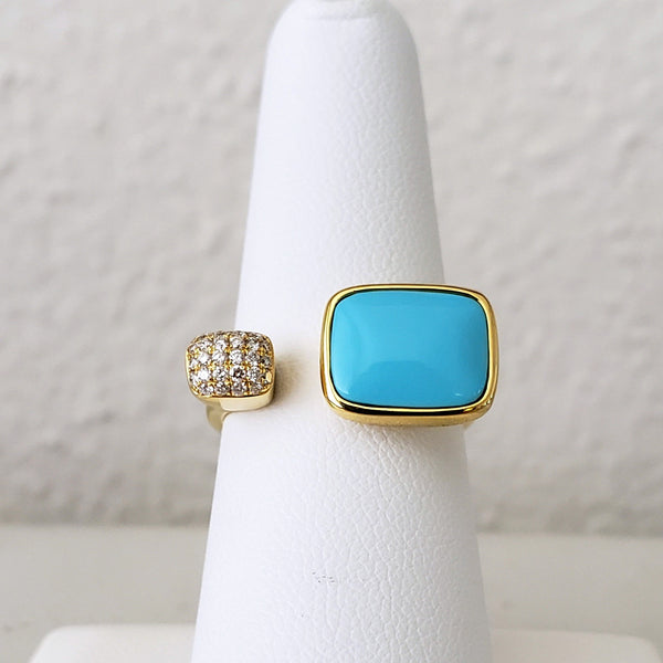 Turquoise & Diamond Bypass Ring