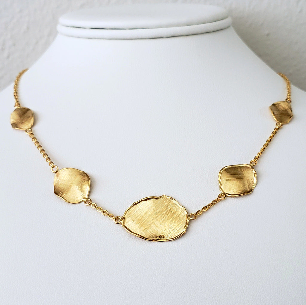 Yellow Gold Panel Necklace