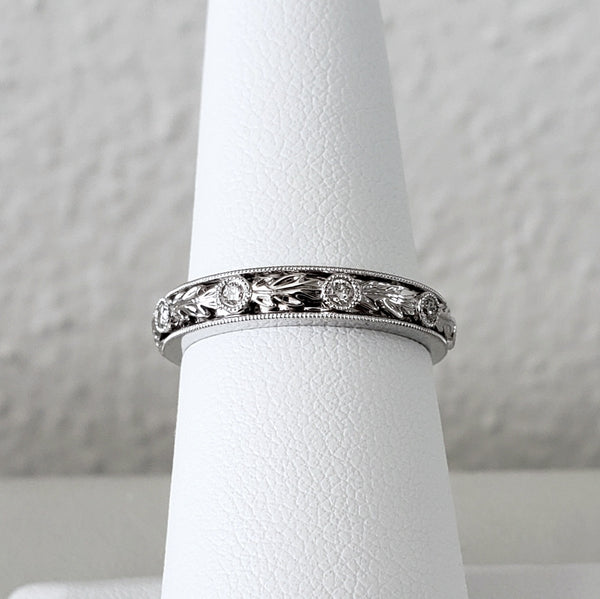 Hand Engraved Diamond Band