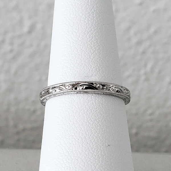 Hand Engraved White Gold Band