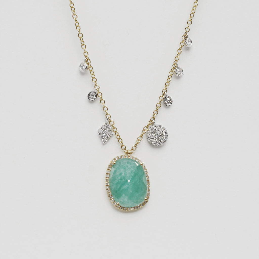 Milky Aqua & Diamond Necklace