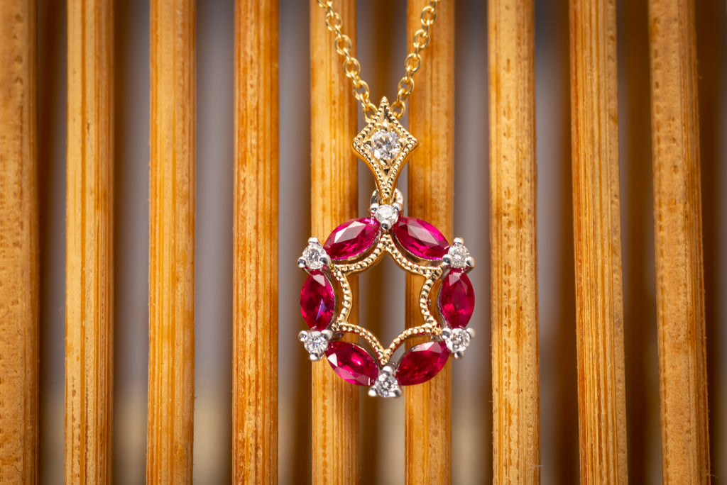 Ruby & Diamond Circle Necklace