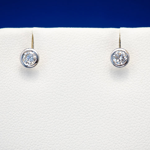 Bezel Diamond Stud Earrings