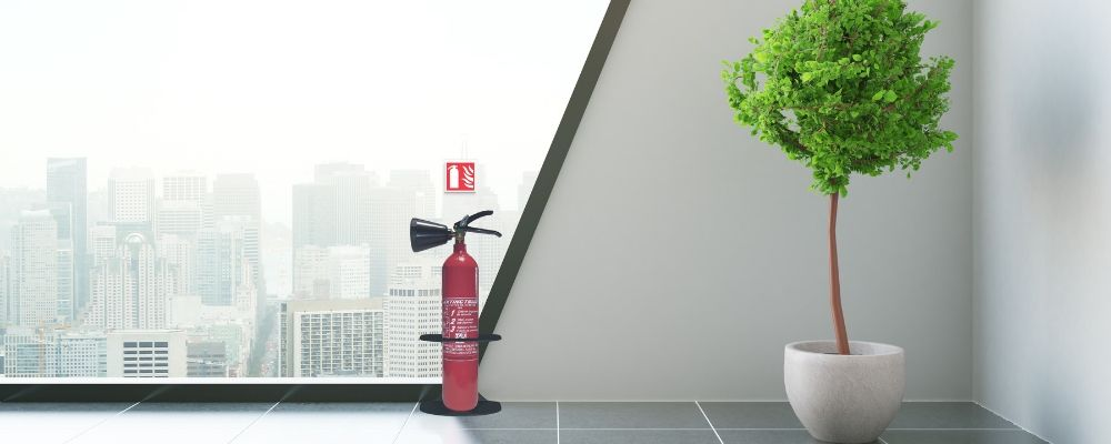Fire extinguisher design stand