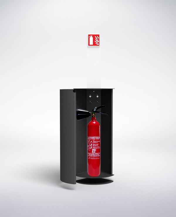 fire extinguisher and cabinet
