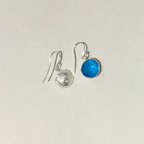 Sky Blue round cup earrings