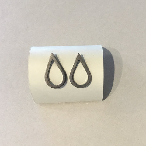 Tear Drop Studs Oxydized