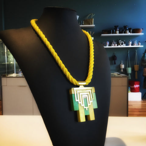 Yellow Cuisnaire Rod  Necklace