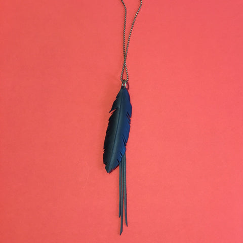 Bureau 55 #6 Feather and Strands necklace on fine ball chain