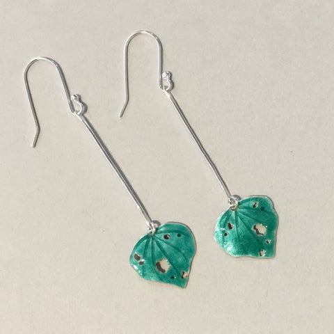 Enamelled Kawakawa Earrings (EN8)