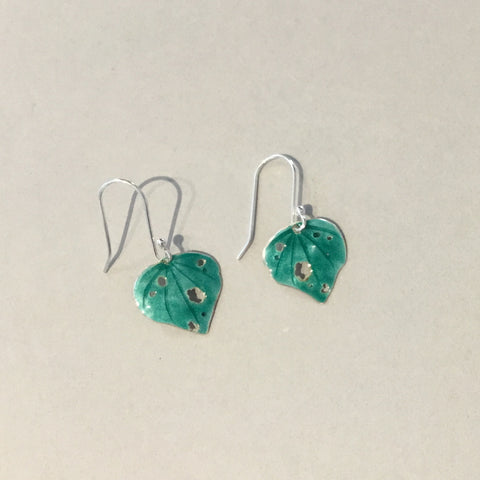Enamelled Kawakawa Earrings (EN6)
