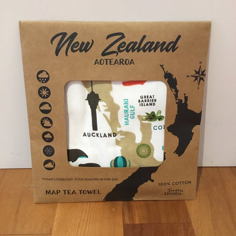 Map of New Zealand Tea Towel by Toodles Noodles