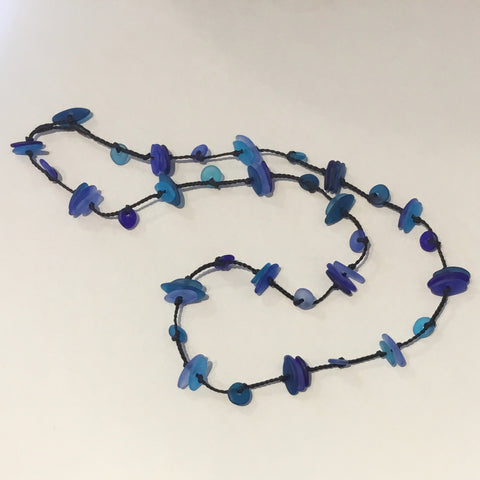 Green Heart Handmade Glass Beads on Plaited Long Cord (shades of blue)