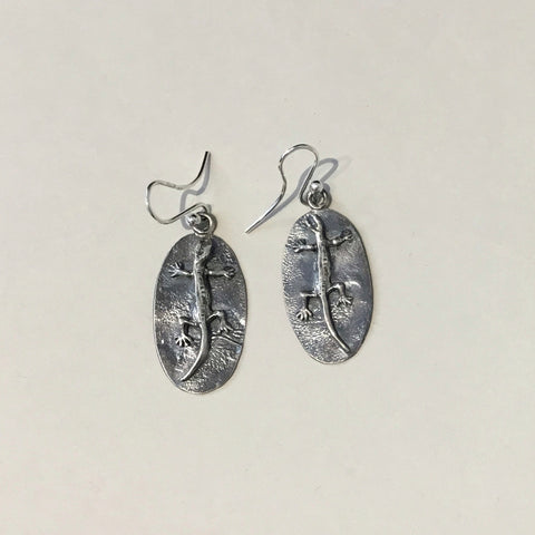 Reticulated Sterling Silver Earrings with Gecko
