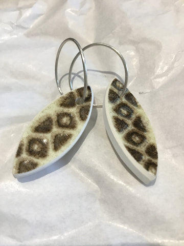 Recycled china leaf earrings (Crown Lynn, Baroque)