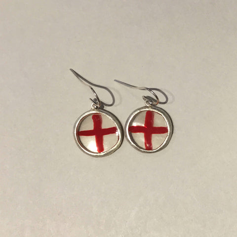 Resin Red Cross Earrings