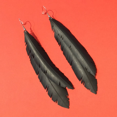Burea 55 #15 Double Feather Earrings