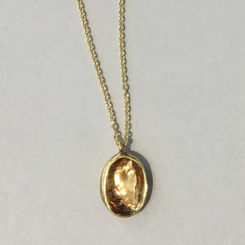Baby Paua Pendant Gold Plated (Small)
