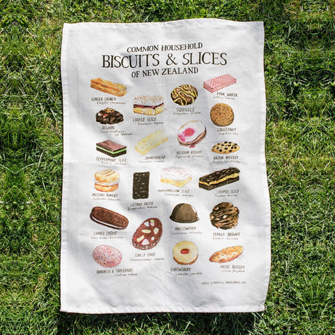 Common household biscuits & slices of New Zealand tea towel