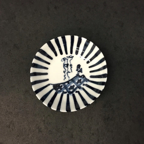 Mini Plate White & Blue
