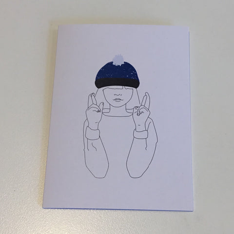 Lucky Blue Hat card by Sally Shand