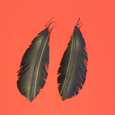 "Bureau 55 #14 Extra large ""feather"" earrings"