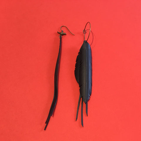 Bureau 55 #5 mis-match feather and strand earrings with birdie