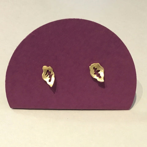 Gold Plated Briar Leaf Studs