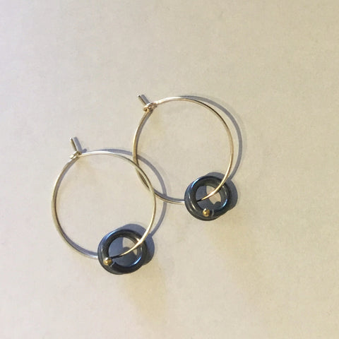 Curly earrings on 9ct hoop