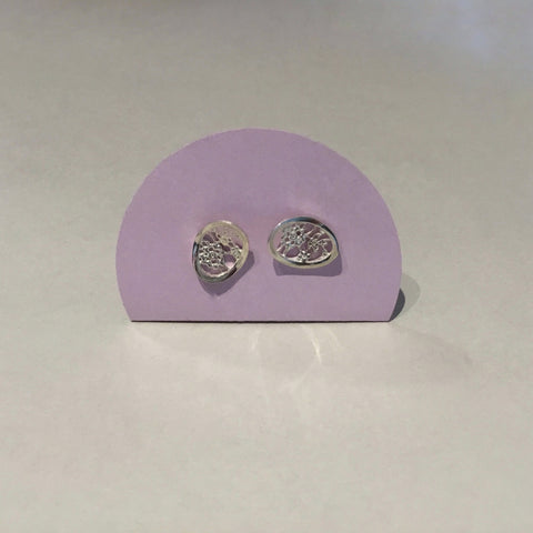 Lace Oval Studs (silver)