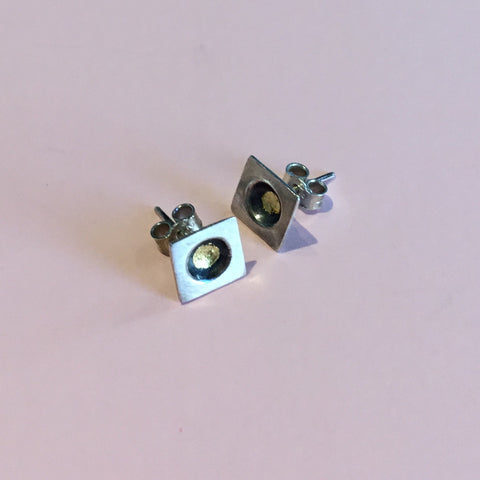 Su Keates Silver and Gold Leaf Square studs