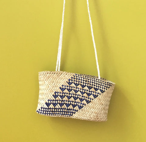 Small Kete Whakairo - Natural with Blue Pattern & long Muka Handle