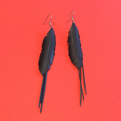 Bureau 55 #2 small & medium feather earrings with strands