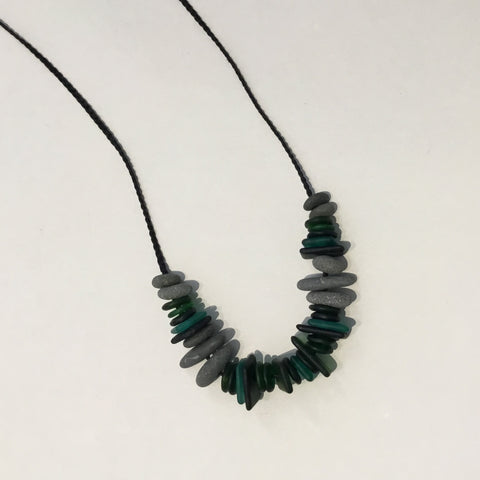 Glass bead and Beach stone necklace - Shades of Green