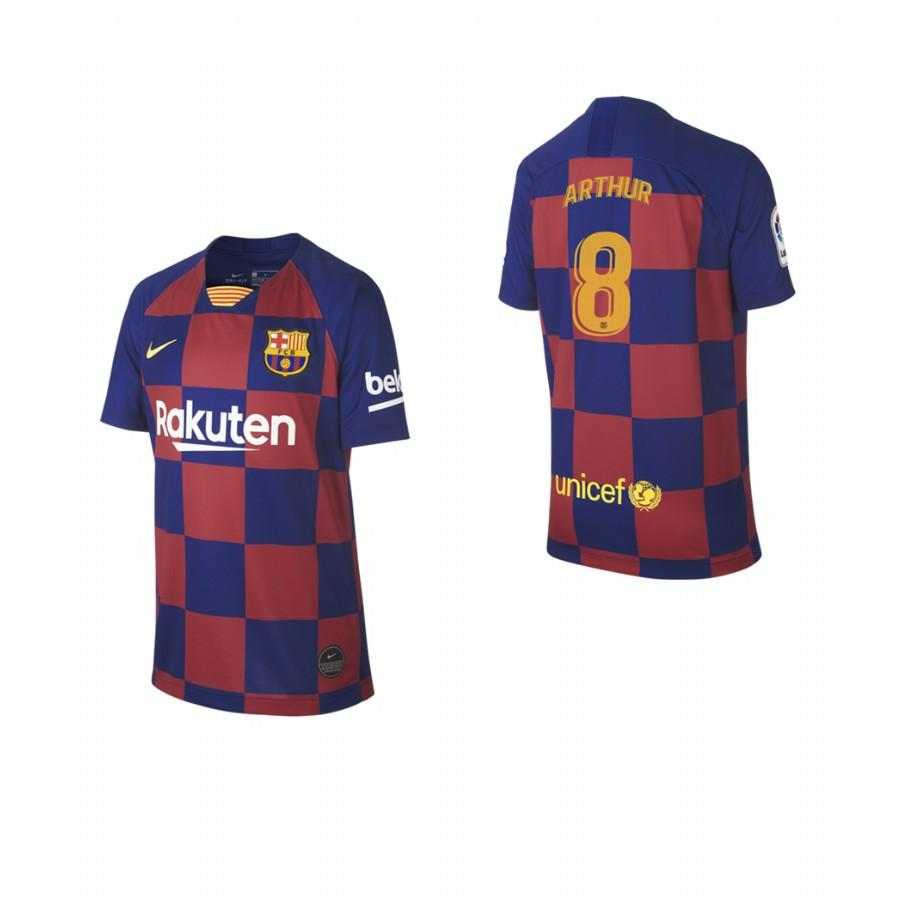2019/20 Arthur Melo no. 8 Barcelona Youth Checkered New Home Jersey/Shirt - S - Jersey