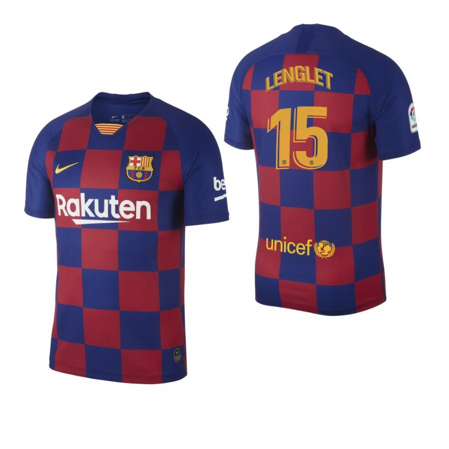 2019/20 Clement Lenglet no. 15 Barcelona Mens Checkered New Home Jersey/Shirt - S - Jersey