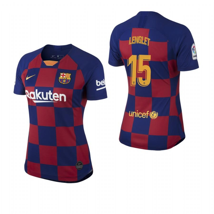 2019/20 Clement Lenglet no. 15 Barcelona Womens Checkered New Home Jersey/Shirt - S - Jersey