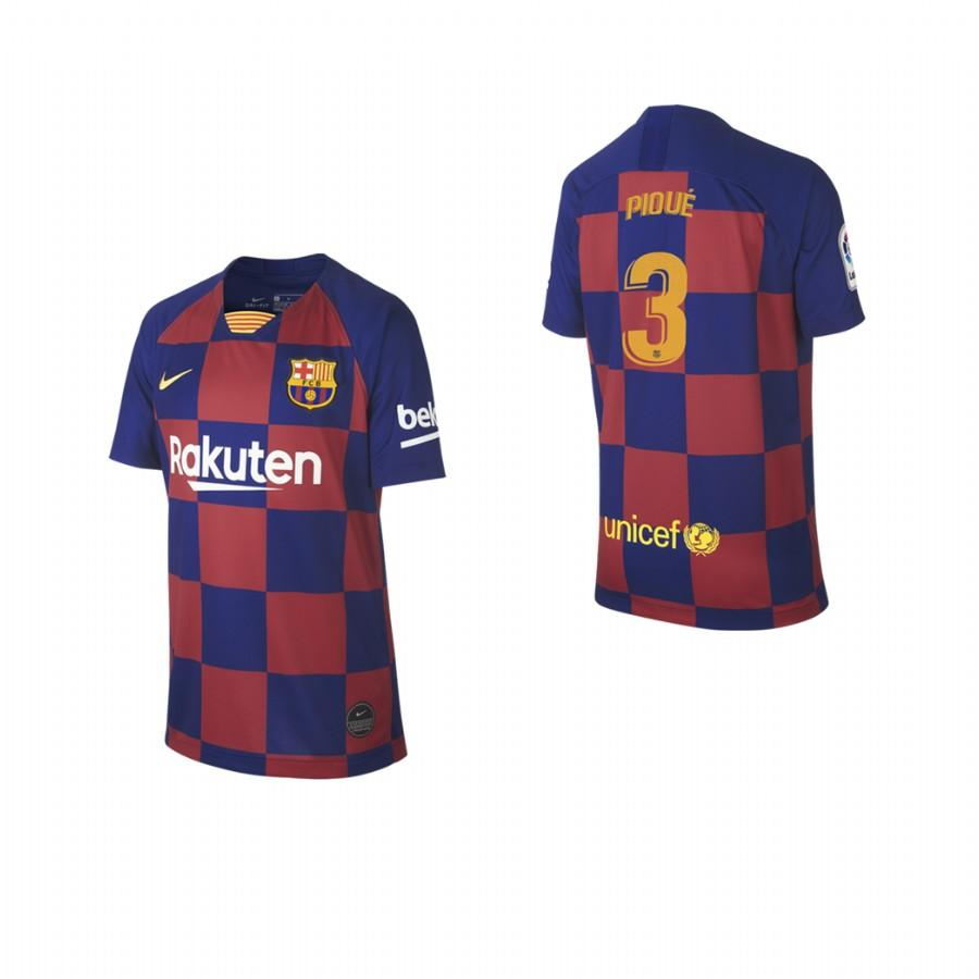 2019/20 Gerard Pique no. 3 Barcelona Youth Checkered New Home Jersey/Shirt - S - Jersey