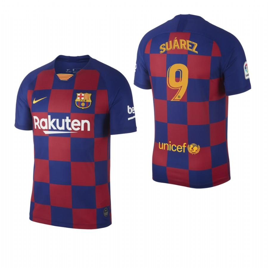 2019/20 Luis Suarez no. 9 Barcelona Mens Checkered New Home Jersey/Shirt - S - Jersey