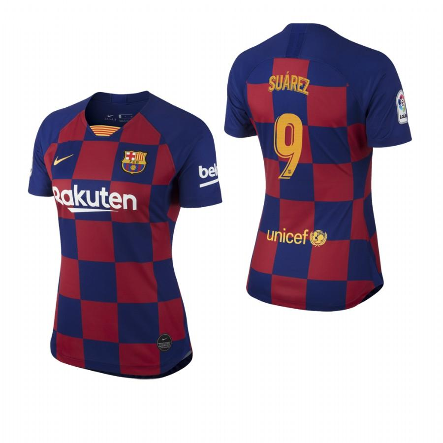 2019/20 Luis Suarez no. 9 Barcelona Womens Checkered New Home Jersey/Shirt - S - Jersey