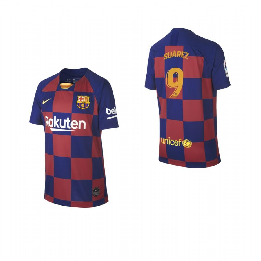 2019/20 Luis Suarez no. 9 Barcelona Youth Checkered New Home Jersey/Shirt - S - Jersey