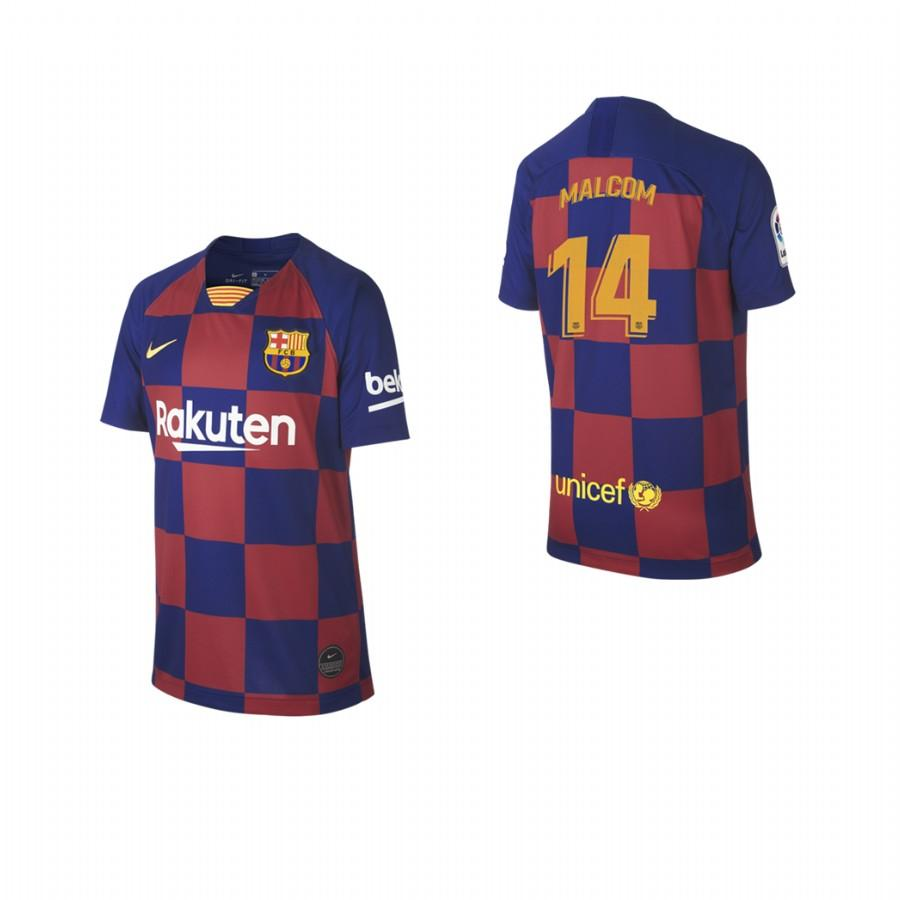 2019/20 Malcom no. 14 Barcelona Youth Checkered New Home Jersey/Shirt - S - Jersey