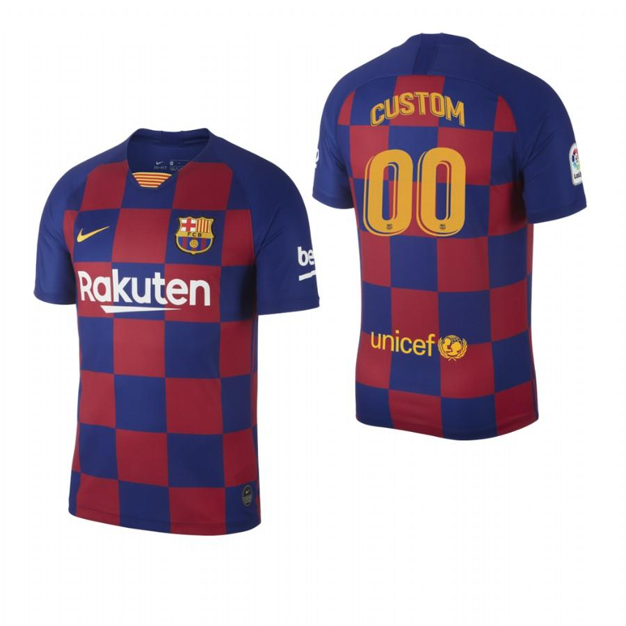 2019/20 Mens Barcelona Custom Name & Number Checkered New Home Jersey/Shirt - S - Jersey