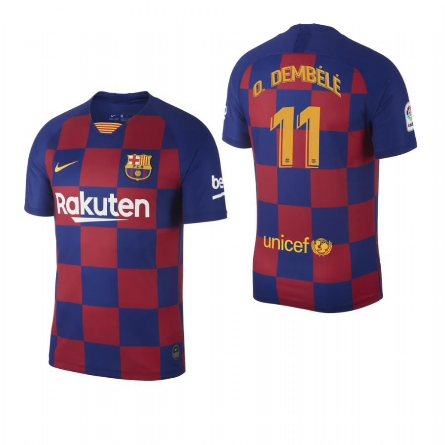 2019/20 Ousmane Dembele no. 11 Barcelona Mens Checkered New Home Jersey/Shirt - S - Jersey